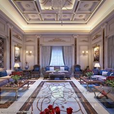 تصاميم مودرن كلاسك في لمسة واحدة 0535001460 Mansion Interior, Luxury Homes Interior, Luxury Home Decor, Interior Exterior, Pooja Room Door Design, Home Room Design, Dining Room Design, House Design, Ceiling Decor