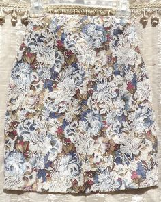 Vintage floral pencil skirt by Anxiety. Made is USA! 60% Cotton / 40% Polyester. Unlined. Multi color floral with white floral brocade.