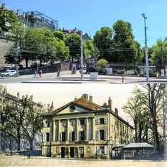 Le théâtre des Bastions, à l'angle de la place de Neuve et de la rue de la Croix-Rouge. Avant 1880 -> 2016 Ancienne photo : Charnaux Frères & Cie / BGE, Centre d'iconographie genevoise #genève #geneve #geneva #rephotography Rue, Place, Photos, Mansions, House Styles, Instagram Posts, Red Cross, Fancy Houses, Mansion