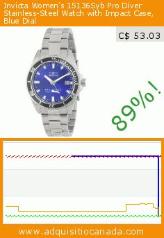 Invicta Women's 15136Syb Pro Diver Stainless-Steel Watch with Impact Case, Blue Dial (Watch). Drop 89%! Current price C$ 53.03, the previous price was C$ 495.00. https://www.adquisitiocanada.com/invicta/womens-pro-diver-blue