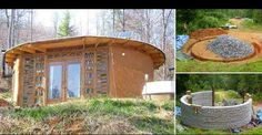 Earthbag Round House for Less than $5,000. Superadobe houses use sandbags and barbed wired.