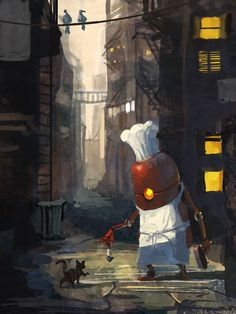 Like the world war robot design in chef's outfit. Arte Robot, Robot Art, Robot Illustration, Illustrations, Fantasy World, Fantasy Art, Steampunk, Futuristic Art, Matte Painting