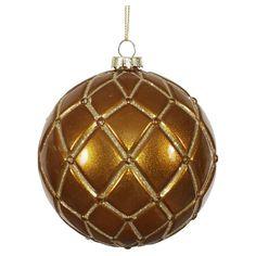 6ct Dark Olive Candy Glitter Net Ball Christmas Ornament Set, Brown