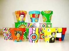 macetas pintadas y decoradas  circulo de diseño n*14