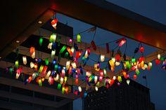 bottle lights at art exhibit in london southwark
