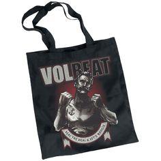 """Borsa di tela nera """"Boxer Ribbon"""" dei #Volbeat con stampa."""