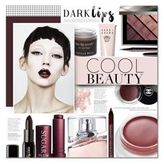 """""""Dare to Wear: Super Dark Lipstick"""" by mada-malureanu ❤ liked on Polyvore featuring beauty, Chanel, Bare Escentuals, Sara Happ, BYRON, rms beauty, HUGO, NYX, Gorgeous Cosmetics and Fresh"""