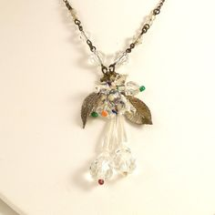 Vintage 1930s Czech Glass Necklace Flowers Leaves by Revvie1, $20.00