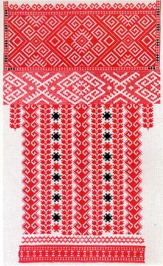 FolkCostumeEmbroidery: Red sleeve embroidery of the Sniatyn district, Pokuttia, Ukraine