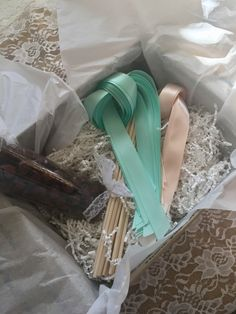 100 DIY Wedding Wand Kit Double Satin Ribbons Wands Bells Ceremony
