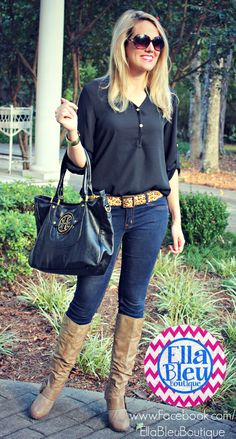 Such a cute fall look! Get this blouse on 10/3/13 from Ella Bleu Boutique on FB! www.Facebook.com/EllaBleuBoutique