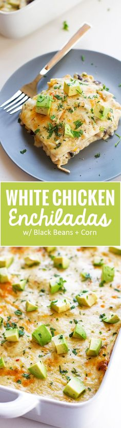 White Chicken Enchilada Casserole - Stacked white chicken enchilada casserole where the tortillas act like lasagna noodles!