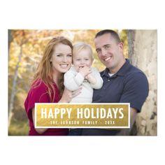 happy holidays photo holiday card brown