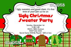 A Ugly Sweater Christmas Party Invitations ALL COLORS TONS OF PATTERNS - Get these invitations RIGHT NOW. Design yourself online, download and print IMMEDIATELY! Or choose my printing services. No software download is required. Free to try!