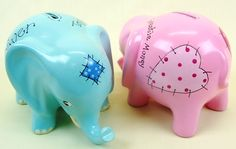 Our blank elephant money boxes (supplied in pottery, white and ready-to-decorate) have been painted and personalised.  What a lovely baby gift keepsake.