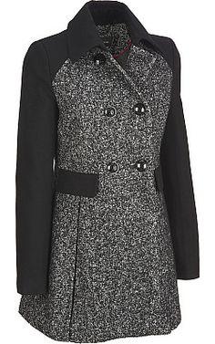 Black Rivet Colorblock Tweed/Wool Jacket
