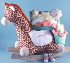 Happy baby gift basket to uae http247babygiftshappy 125 giraffe plush rocker personalized baby gifts negle Images