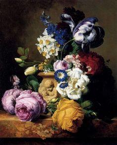 Charles-Joseph Node (1811-1886)  Roses,Tulips, Morning Glory, Delphinium And Primrose Peerless In A Terra Cotta Vase On A Marble Ledge