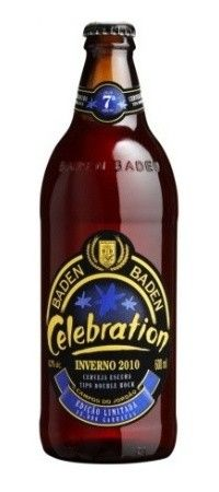 Cerveja Baden Baden Celebration Inverno, estilo Doppelbock, produzida por Baden Baden, Brasil. 8% ABV de álcool.