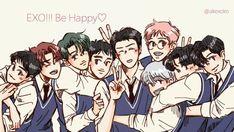 Baekhyun Fanart, Kpop Fanart, Kyungsoo, Chanyeol, Exo Kai, Exo Stickers, Exo Anime, Exo Group, Exo Lockscreen
