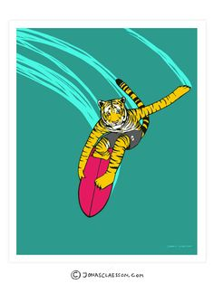 "T - Tiger Art Print. Surfing Tiger. Part of my A-Z surfing animal series. Gallery quality Giclée print on natural white, matte, ultra smooth, 100% cotton rag, acid and lignin free archival paper using Epson K3 archival inks. Custom trimmed with 1"" border for framing.  Free Worldwide Shipping: Ships from the US. For US orders expect 2 weeks shipping time. For orders outside of the US, expect 3-5 weeks shipping time."