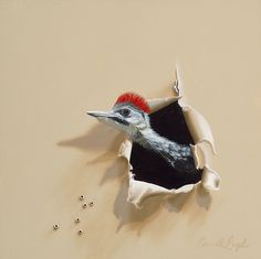 """Fuzzy Mohawk"" Pileated Woodpecker Trompe-l'oeil Bird Oil Painting by Camille Engel"