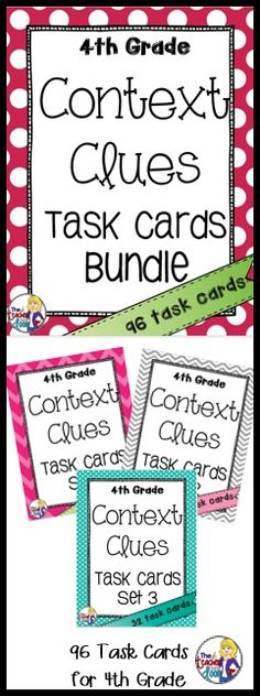 Three sets (96) task cards that are perfect for literary centers! Using context clues is an important reading strategy and these cards provide lots of focused practice for your 4th graders! (TpT Resource)