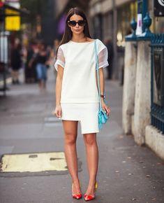 Saia assimétrica all white