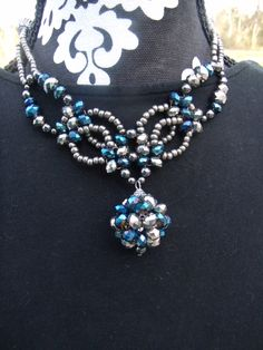 SILVER AND BLUE SPHERE NECKLACE  $16.95  www.etsy.com/shop/meandjpsjewelry