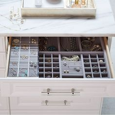 Custom Closets & Custom Closet Design | The Container Store Diy Jewelry Organizer Drawer, Top Of Dresser Organization, Bathroom Drawer Organization, Jewellery Organization, Closet Organizer With Drawers, Ring Organizer, Bathroom Drawers, Jewelry Holder, Jewelry Storage