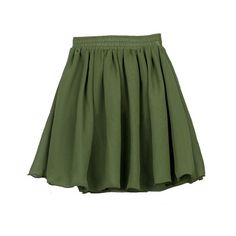Vintage Full Pleated and High Waist Chiffon Mini Skirt in Military Green ($23) found on Polyvore