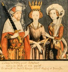 Blanche of England (Blanche of Lancaster) (middle) with her husband (Louis III Elector Palatine) and his second wife Matilda as depicted in Blanche was a daughter of King Henry IV of England. Medieval World, Medieval Art, Lancaster, Luis Iv, Middle Ages Clothing, 15th Century Clothing, History Of England, British History, Holy Roman Empire