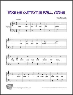 Take Me Out to the Ball Game   Sheet Music for Piano (Digital Print) http://makingmusicfun.net/htm/f_printit_free_printable_sheet_music/take-me-out-to-the-ball-game-piano.htm