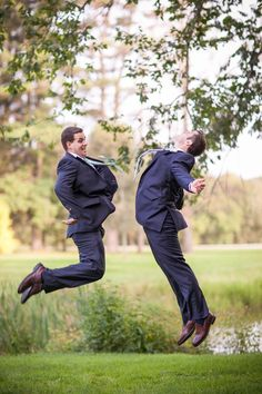 A chest bump is always a good idea. | 18 Glorious Ideas For Groomsmen Photos