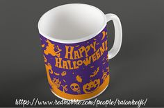 Celebrate Halloween with this mug full of witches, skeletons, jack o'lanterns, bats, and ghosts. Design also on tshirts, phone cases, tote bags, throw pillows, stickers, and more making it a great gift for any trick or treaters or eaters of Halloween candy. Check it out at: https://www.redbubble.com/people/raionkeiji/works/27812800-happy-halloween?asc=u&p=mug&rel=carousel&style=standard