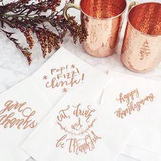 Thanksgiving copper foil napkins