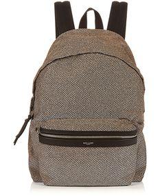 Shop Now - >  https://api.shopstyle.com/action/apiVisitRetailer?id=529729571&pid=uid6996-25233114-59 SAINT LAURENT Leather-trimmed lamé backpack  ...