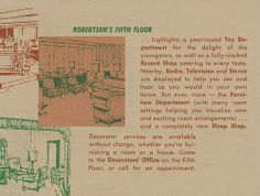 A circa pamphlet featuring the new layout of Robertson's Department Store in South Bend, Indiana South Bend Indiana, Back Home, Childhood Memories, Catering, Flooring, Department Store, Vintage, Catering Business, Gastronomia