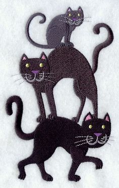 Black Cat Stack Embroidered Linen Kitchen by EmbroideredbySue