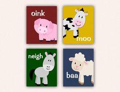 Items similar to Farm Animal Nursery Print Set - Pig Horse Cow Sheep Kids Bedroom Art, Linen Texture with Barnyard Animal Sounds on Etsy Farm Animal Nursery, Farm Nursery, Nursery Themes, Nursery Prints, Nursery Wall Art, Bedroom Art, Kids Bedroom Organization, Boy Toddler Bedroom, Barnyard Animals