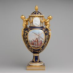 Vase With Cover  c.1778  -  Porcelain Medallions Depict Louis XVI And Marie Antoinette