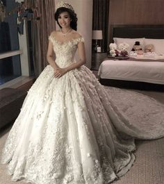 Robe De Mariage Princess Wedding Dress Luxurious Chapel Train Vestido De Novia Satin With Beading Ball Gown Wedding Dresses 2017 Off Shoulder Wedding Dress, Sheer Wedding Dress, Wedding Dresses With Flowers, Luxury Wedding Dress, Princess Wedding Dresses, Bridal Dresses, Lace Dress, Gown Wedding, Beaded Dresses