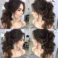Boho Wedding Hair, Wedding Hairstyles For Long Hair, Wedding Hair And Makeup, Bride Hairstyles, Bridal Hair, Hairstyle Wedding, Wedding Hair Curls, Belle Hairstyle, Pulled Back Hairstyles