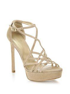 Stuart Weitzman - Stripmall Suede Strappy Platform Sandals