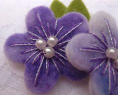 flower - woolfelt hand embroidered with pearls