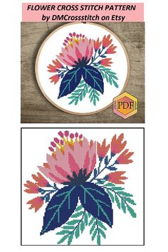 Modern Cross Stitch Patterns, Cross Stitch Charts, Cross Stitch Designs, Simple Embroidery, Cross Stitch Embroidery, Cross Stitch Collection, Botanical Flowers, Art File, Floral Bouquets