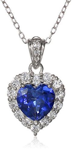 """Platinum Plated Sterling Silver Created Blue Sapphire and White Topaz Halo Heart Pendant Necklace, 18"""" Amazon Curated Collection http://www.amazon.com/dp/B00MCK371K/ref=cm_sw_r_pi_dp_mwzNub1621D88"""