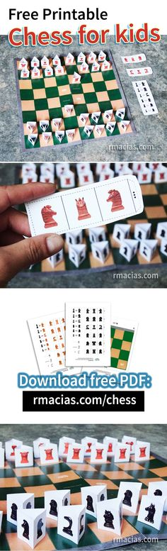 A free print-ready chess set designed to be easily put together at home. The pieces are Animals Orange and Black and the Chess Board has grassy and sandy squares. By Rodrigo Macias