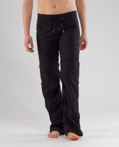 I live in these Lululemon warm up pants. They are worth the price. Light weight and stretchy beyond belief.