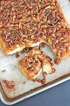 Sticky Buns - scratch-baked soft and buttery breakfast buns that are filled with cinnamon sugar and coated in a sweet sticky glaze with pecans all over and throughout.